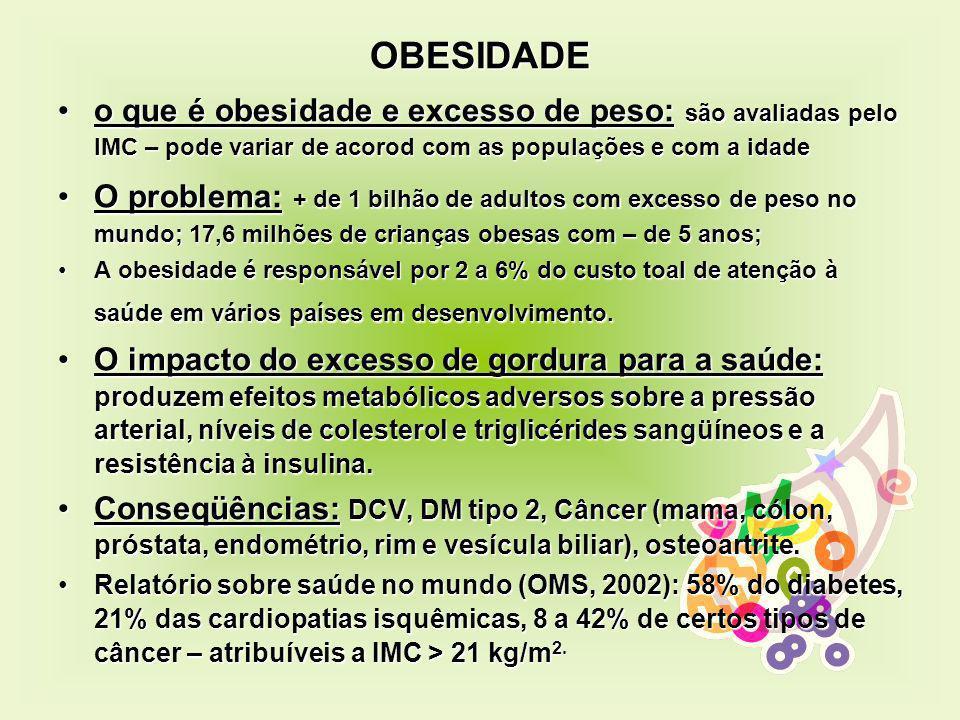 OBESIDADE o que é obesidade e excesso de peso: são avaliadas pelo IMC – pode variar de acorod com as populações e com a idadeo que é obesidade e exces