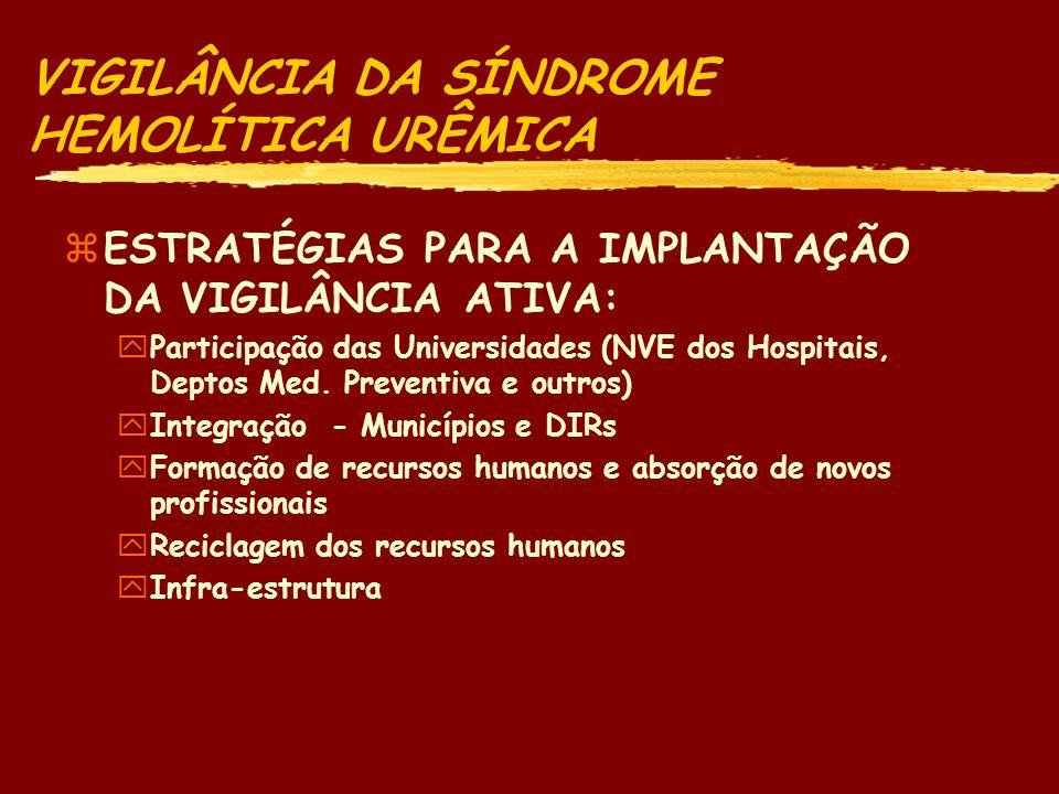 VIGILÂNCIA DA SÍNDROME HEMOLÍTICA URÊMICA zESTRATÉGIA PARA A VIGILÂNCIA DA SHU: yComponente do Programa de VADTA - vigilância ativa da SHU yDesenvolvimento de sistema compatível com o Protocolo firmado entre os países do Mercosul (OPAS/OMS, CDC/Atlanta, CENEPI/MS, outros) yUtilização dos recursos humanos do Curso EPI DTA para rastreamento da doença e do patógeno relacionado yNefrologistas, Pediatras, Infectologistas, Hematologistas, Epidemiologistas