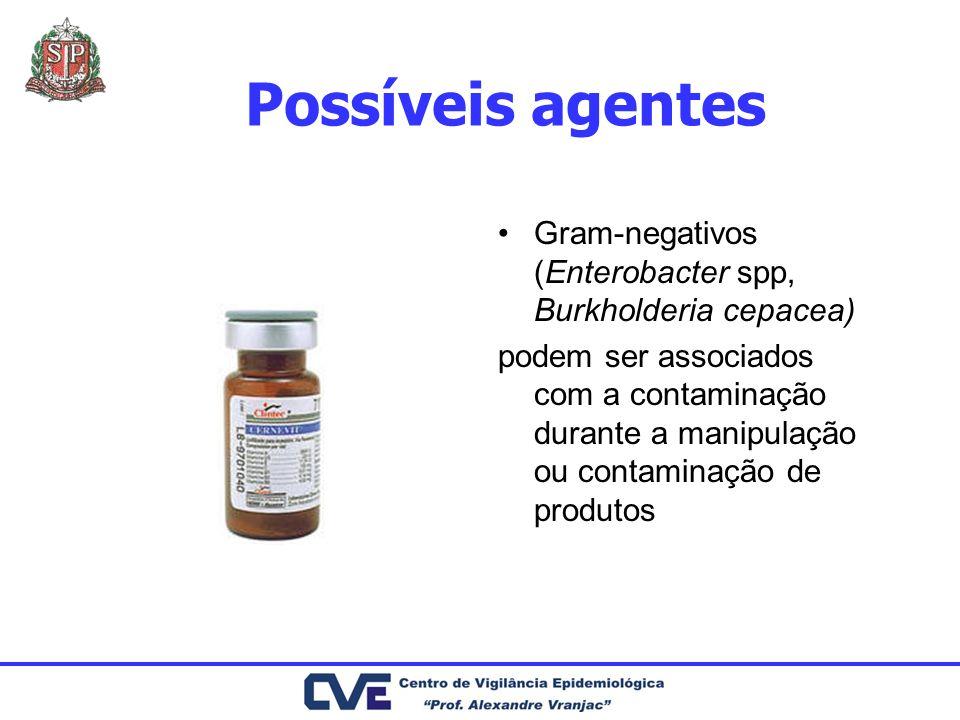 Possíveis agentes Gram-negativos (Enterobacter spp, Burkholderia cepacea) podem ser associados com a contaminação durante a manipulação ou contaminaçã