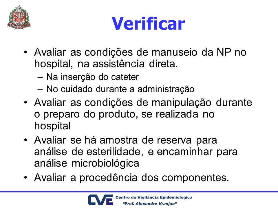 Verificar Avaliar as condições de manuseio da NP no hospital, na assistência direta. –Na inserção do cateter –No cuidado durante a administração Avali