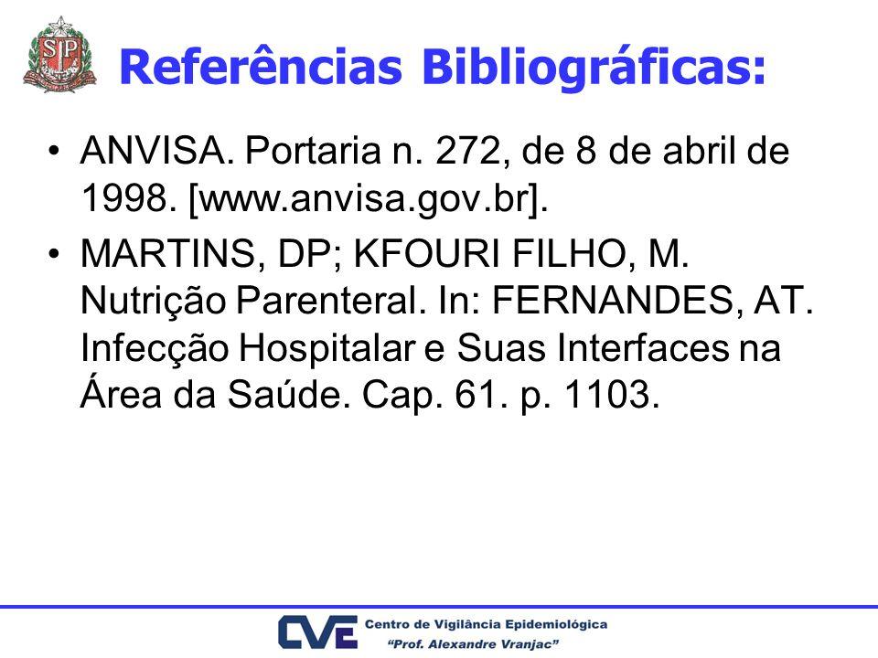 Referências Bibliográficas: ANVISA. Portaria n. 272, de 8 de abril de 1998. [www.anvisa.gov.br]. MARTINS, DP; KFOURI FILHO, M. Nutrição Parenteral. In