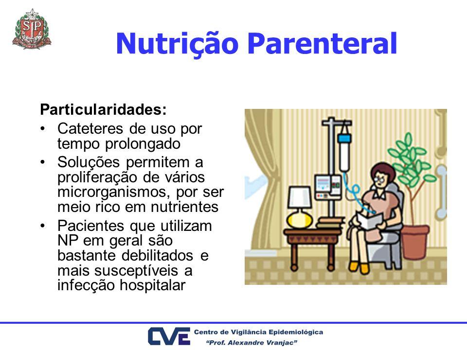 Nutrição Parenteral Particularidades: Cateteres de uso por tempo prolongado Soluções permitem a proliferação de vários microrganismos, por ser meio ri
