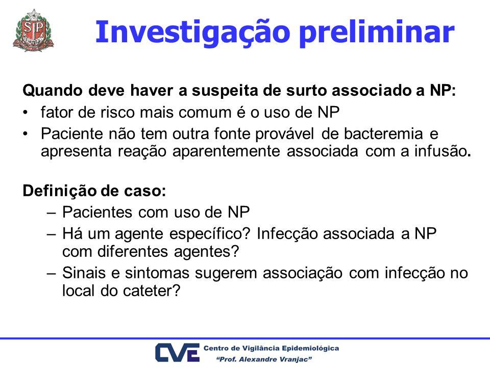 Investigação preliminar Quando deve haver a suspeita de surto associado a NP: fator de risco mais comum é o uso de NP Paciente não tem outra fonte pro