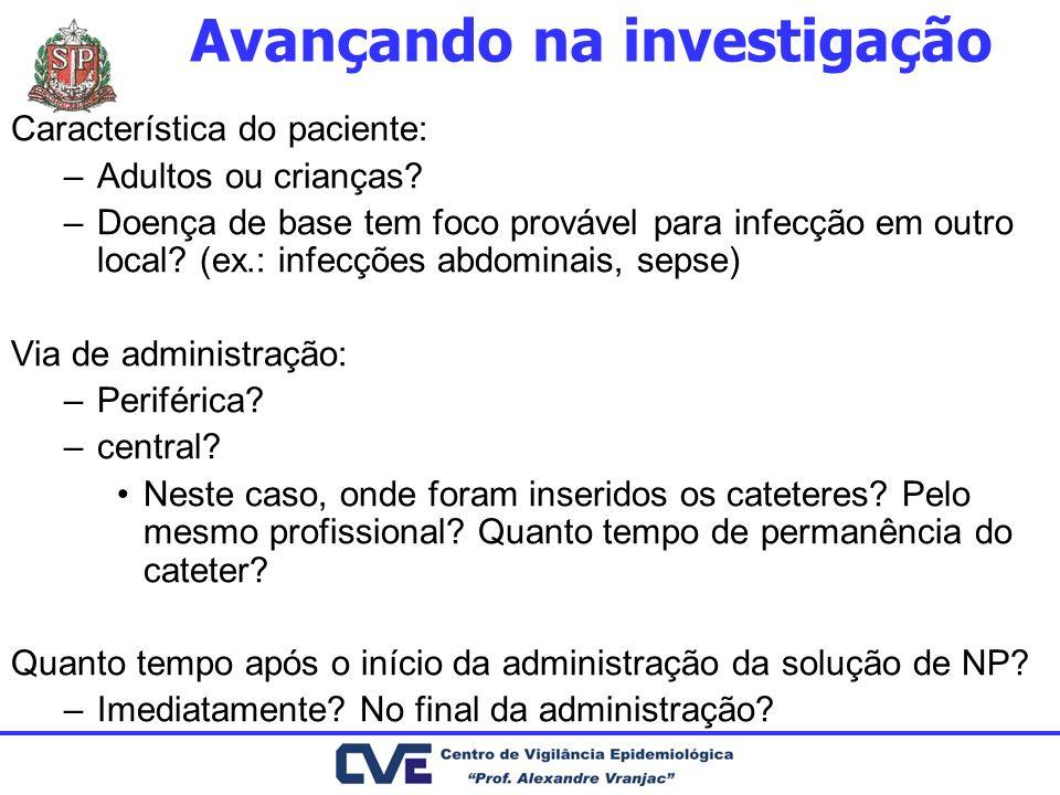 Avançando na investigação Característica do paciente: –Adultos ou crianças? –Doença de base tem foco provável para infecção em outro local? (ex.: infe