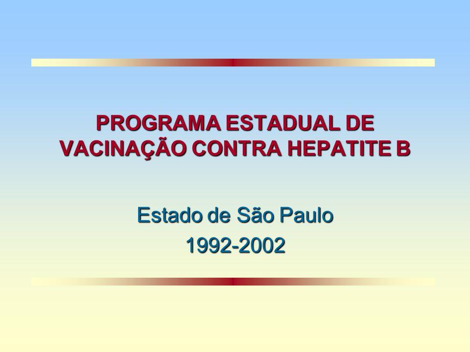 PROGRAMA ESTADUAL DE VACINAÇÃO CONTRA HEPATITE B Estado de São Paulo 1992-2002