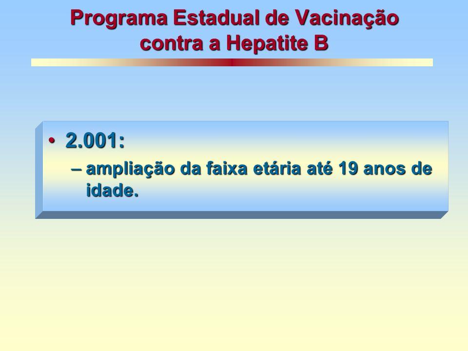 Programa Estadual de Vacinação contra a Hepatite B 2.001:2.001: –ampliação da faixa etária até 19 anos de idade.