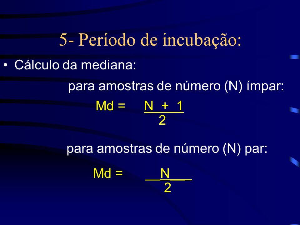 5- Período de incubação: Cálculo da mediana: para amostras de número (N) ímpar: Md = N + 1 2 para amostras de número (N) par: Md = __N__ 2