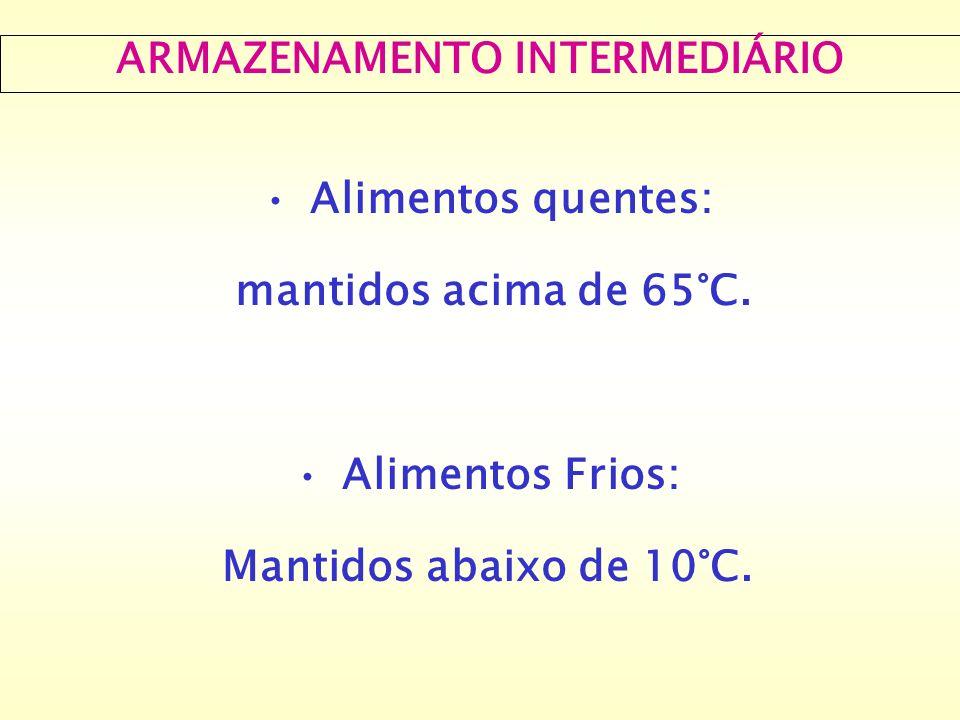 ARMAZENAMENTO INTERMEDIÁRIO Alimentos quentes: mantidos acima de 65°C. Alimentos Frios: Mantidos abaixo de 10°C.