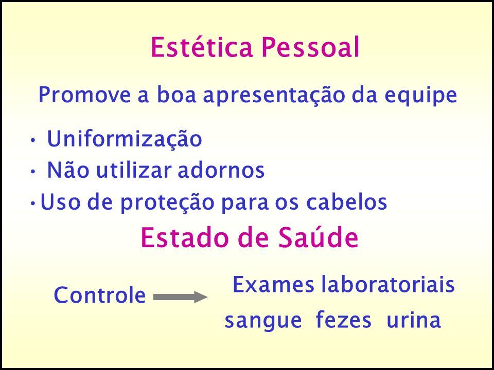 Estética Pessoal Promove a boa apresentação da equipe Estado de Saúde Exames laboratoriais sangue fezes urina Controle Uniformização Não utilizar ador