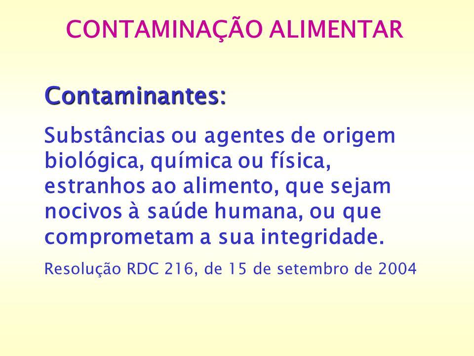 CONTAMINAÇÃO ALIMENTAR Contaminantes: Substâncias ou agentes de origem biológica, química ou física, estranhos ao alimento, que sejam nocivos à saúde