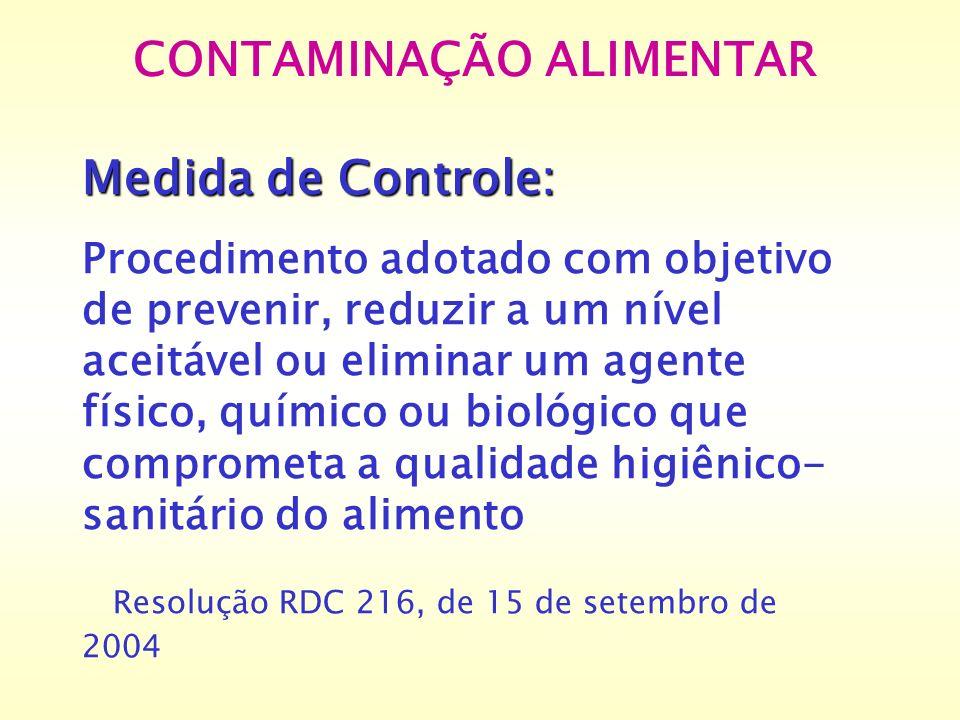 CONTAMINAÇÃO ALIMENTAR Medida de Controle: Procedimento adotado com objetivo de prevenir, reduzir a um nível aceitável ou eliminar um agente físico, q