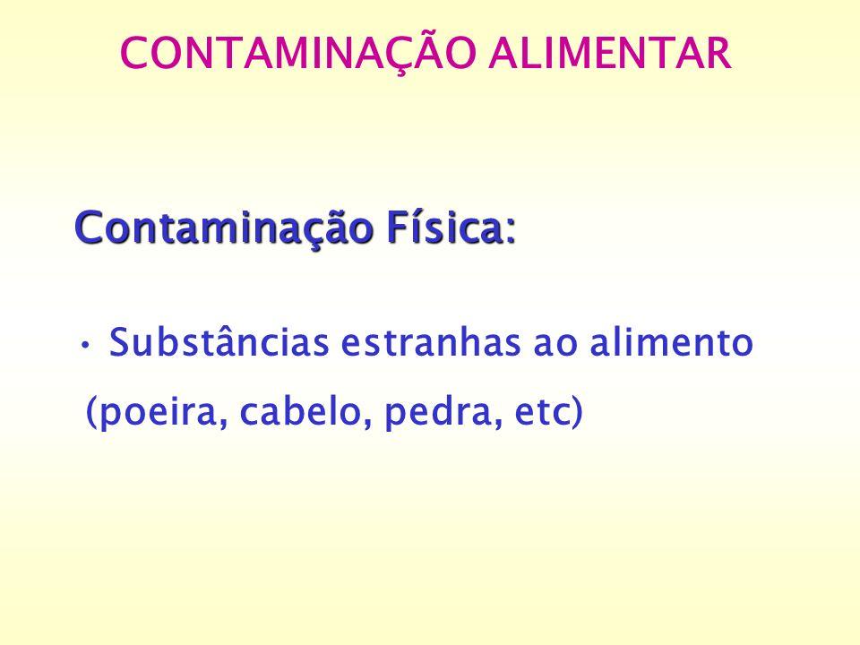 CONTAMINAÇÃO ALIMENTAR Contaminação Física: Substâncias estranhas ao alimento (poeira, cabelo, pedra, etc)