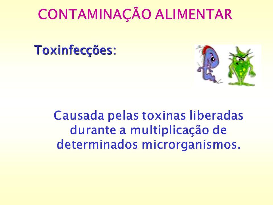 Toxinfecções: Causada pelas toxinas liberadas durante a multiplicação de determinados microrganismos. CONTAMINAÇÃO ALIMENTAR