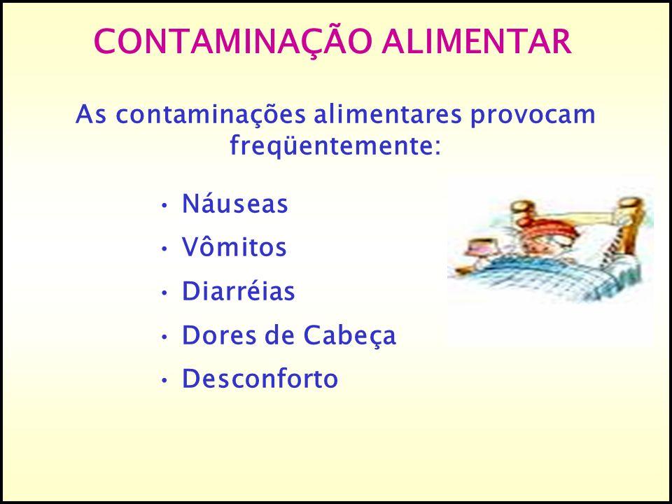 As contaminações alimentares provocam freqüentemente: Náuseas Vômitos Diarréias Dores de Cabeça Desconforto CONTAMINAÇÃO ALIMENTAR