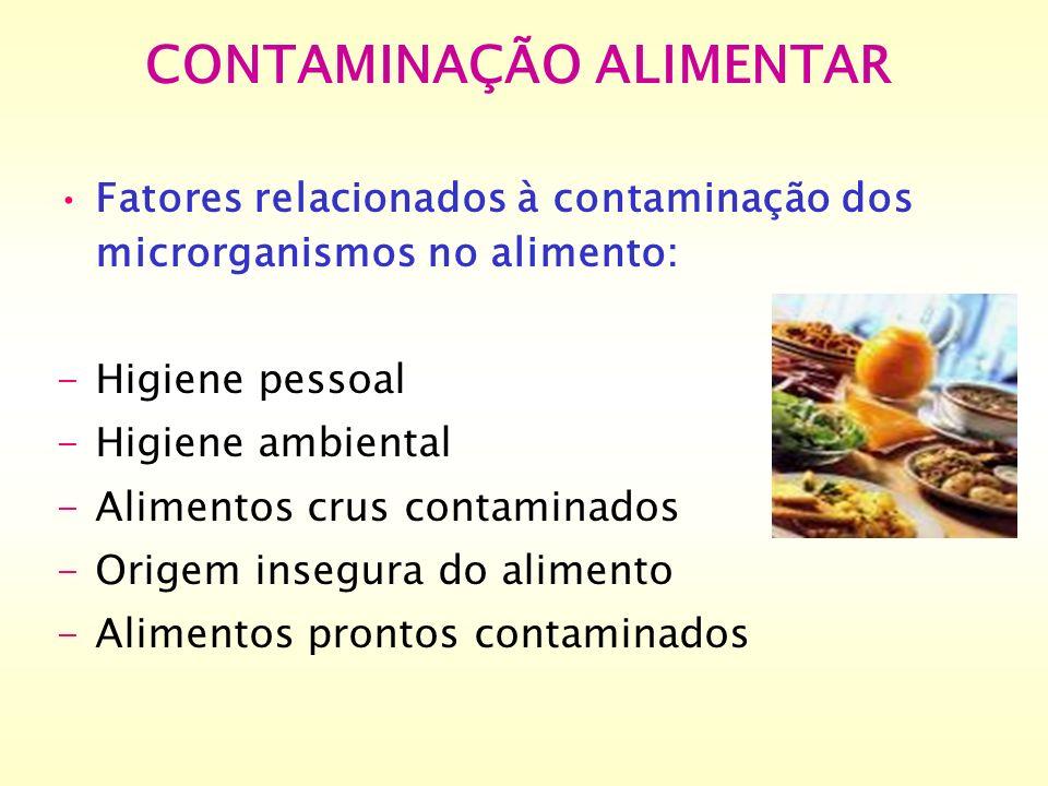 Fatores relacionados à contaminação dos microrganismos no alimento: -Higiene pessoal -Higiene ambiental -Alimentos crus contaminados -Origem insegura