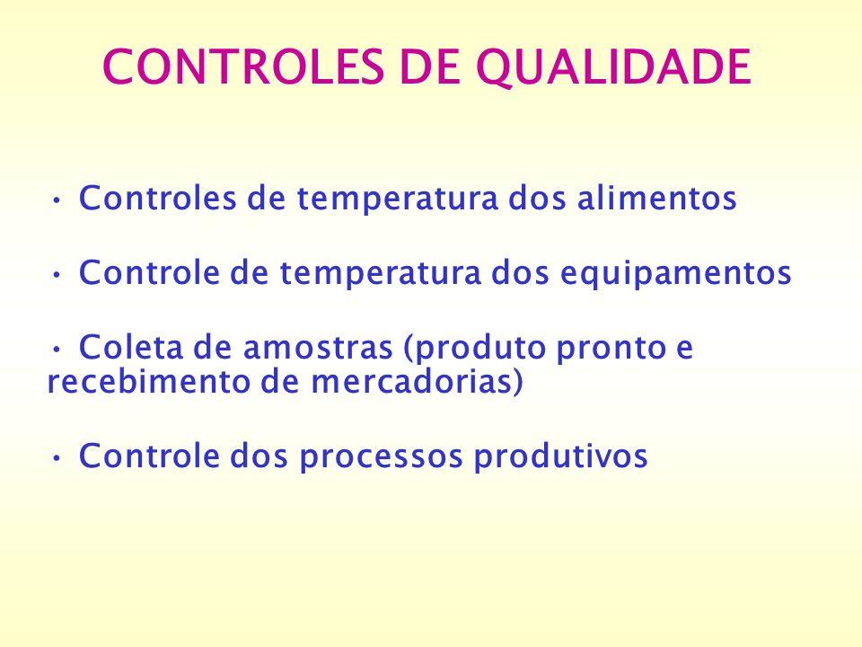 CONTROLES DE QUALIDADE Controles de temperatura dos alimentos Controle de temperatura dos equipamentos Coleta de amostras (produto pronto e recebiment