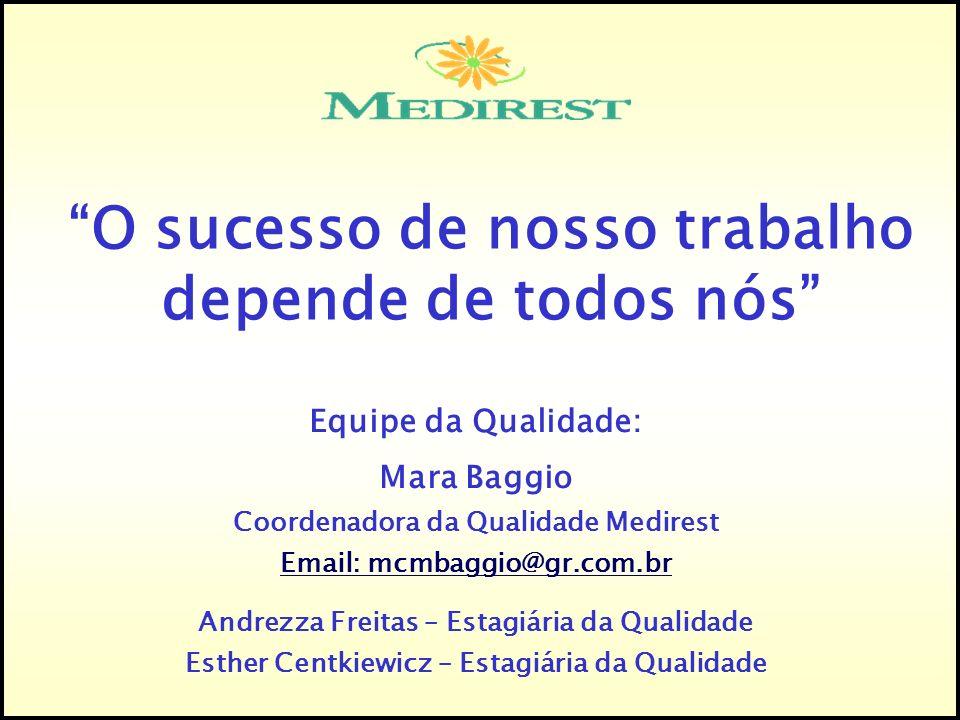 Equipe da Qualidade: Mara Baggio Coordenadora da Qualidade Medirest Email: mcmbaggio@gr.com.br Andrezza Freitas – Estagiária da Qualidade Esther Centk