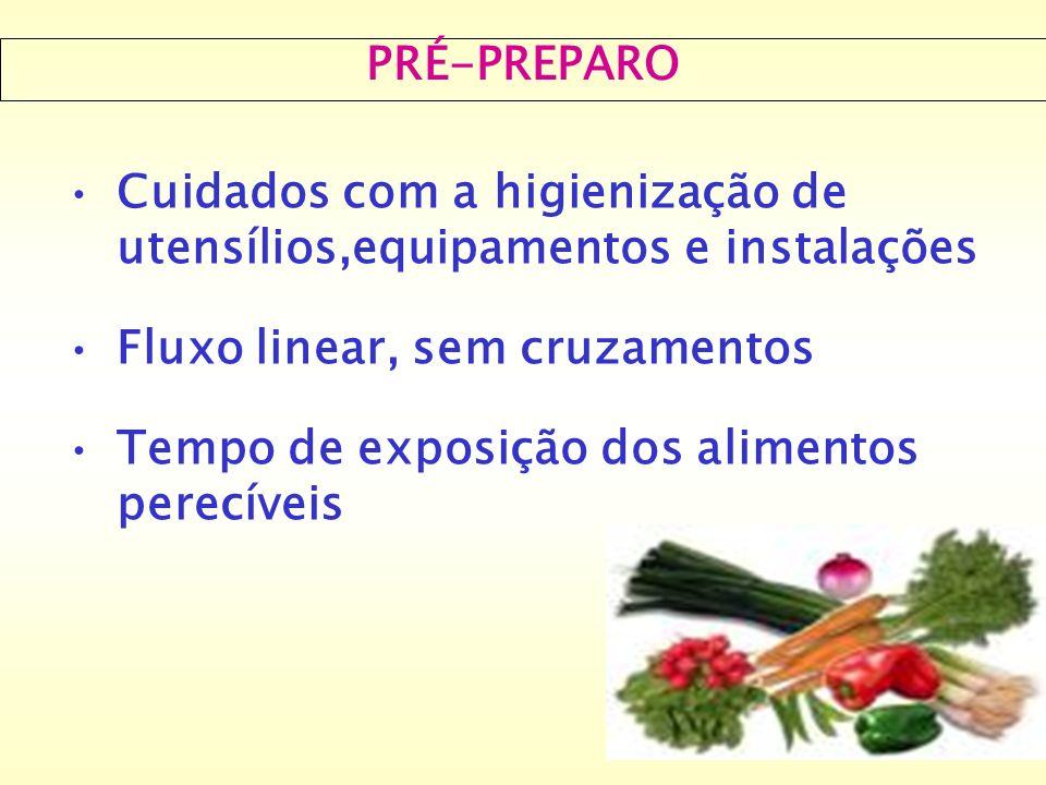 PRÉ-PREPARO Cuidados com a higienização de utensílios,equipamentos e instalações Fluxo linear, sem cruzamentos Tempo de exposição dos alimentos perecí