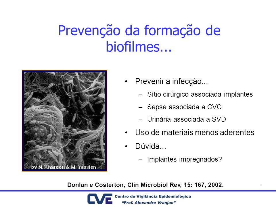 Prevenção da formação de biofilmes... Prevenir a infecção... –Sítio cirúrgico associada implantes –Sepse associada a CVC –Urinária associada a SVD Uso