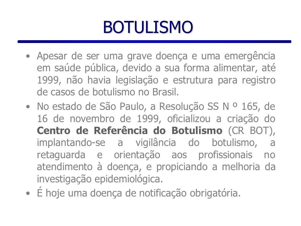 O CR BOT, por acordo com o Centro Nacional de Epidemiologia - CENEPI/FUNASA/MS passou a registrar a partir de 1999, os casos notificados de todo o Brasil, fornecendo orientações, retaguarda laboratorial, através do Instituto Adolfo Lutz - IAL (Central) e liberação da antitoxina botulínica (em outros estados, é de responsabilidade do CENEPI a disponibilização da antitoxina).