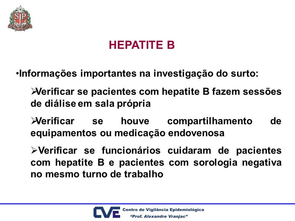 HEPATITE B Informações importantes na investigação do surto: Verificar se pacientes com hepatite B fazem sessões de diálise em sala própria Verificar