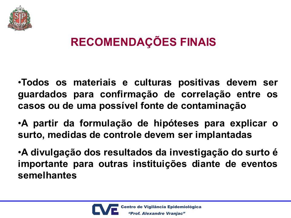 RECOMENDAÇÕES FINAIS Todos os materiais e culturas positivas devem ser guardados para confirmação de correlação entre os casos ou de uma possível font