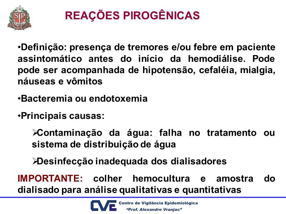 REAÇÕES PIROGÊNICAS Definição: presença de tremores e/ou febre em paciente assintomático antes do início da hemodiálise. Pode pode ser acompanhada de