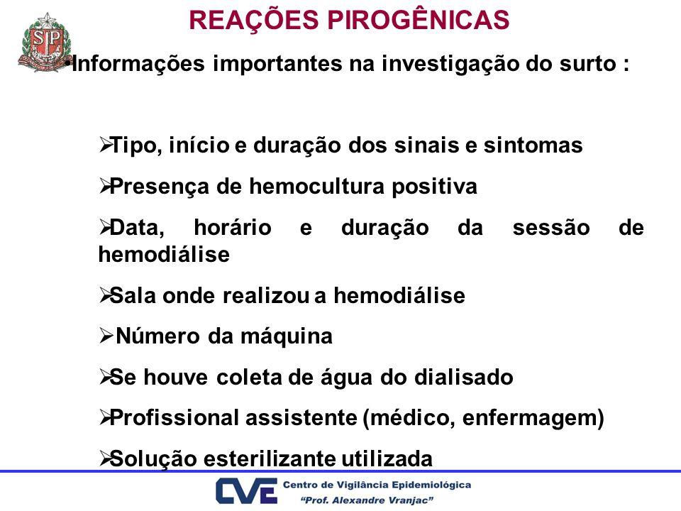 REAÇÕES PIROGÊNICAS Informações importantes na investigação do surto : Tipo, início e duração dos sinais e sintomas Presença de hemocultura positiva D