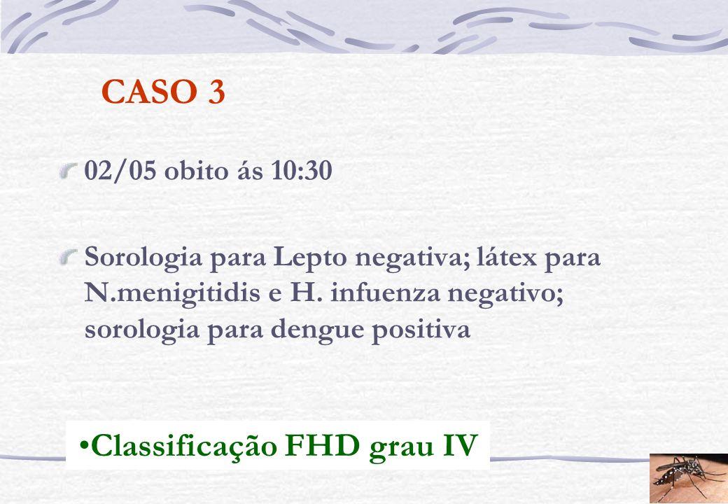 CASO 3 02/05 obito ás 10:30 Sorologia para Lepto negativa; látex para N.menigitidis e H. infuenza negativo; sorologia para dengue positiva Classificaç