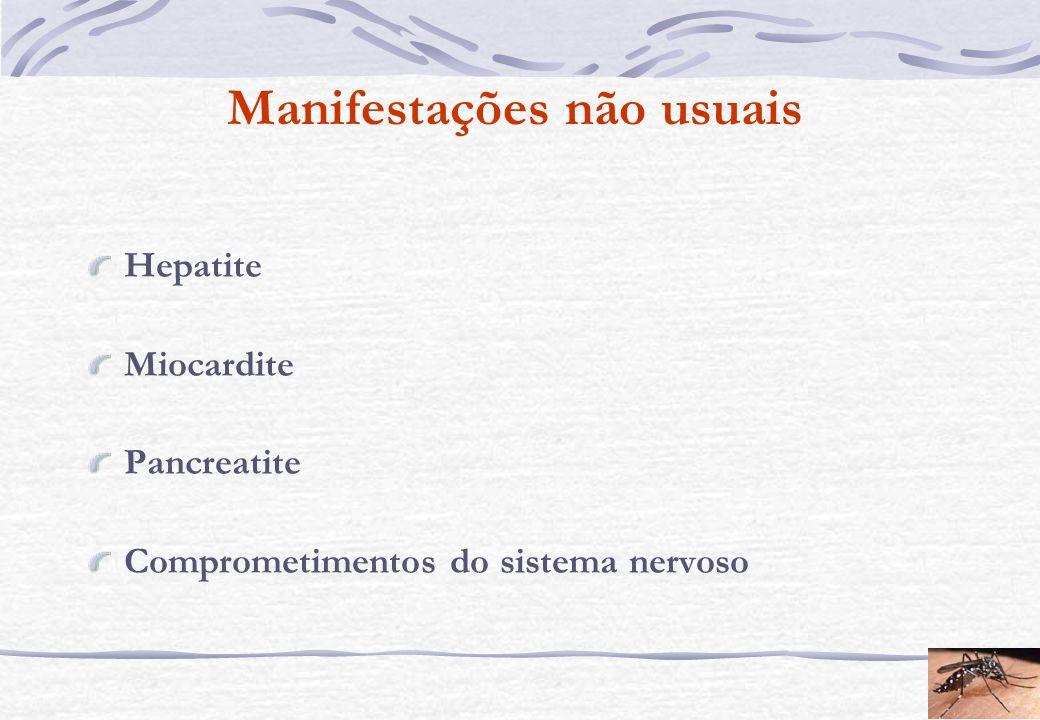 Manifestações não usuais Hepatite Miocardite Pancreatite Comprometimentos do sistema nervoso