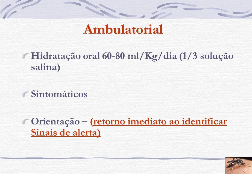 Ambulatorial Hidratação oral 60-80 ml/Kg/dia (1/3 solução salina) Sintomáticos Orientação – (retorno imediato ao identificar Sinais de alerta)