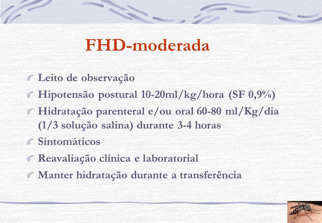FHD-moderada Leito de observação Hipotensão postural 10-20ml/kg/hora (SF 0,9%) Hidratação parenteral e/ou oral 60-80 ml/Kg/dia (1/3 solução salina) du