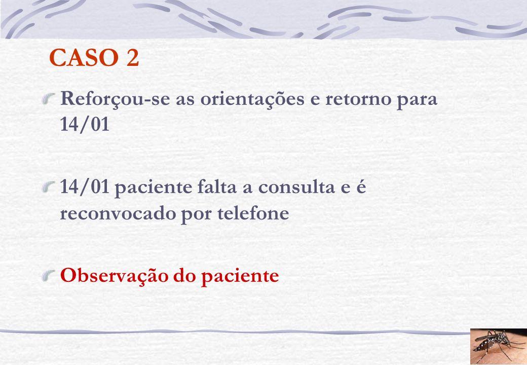CASO 2 Reforçou-se as orientações e retorno para 14/01 14/01 paciente falta a consulta e é reconvocado por telefone Observação do paciente