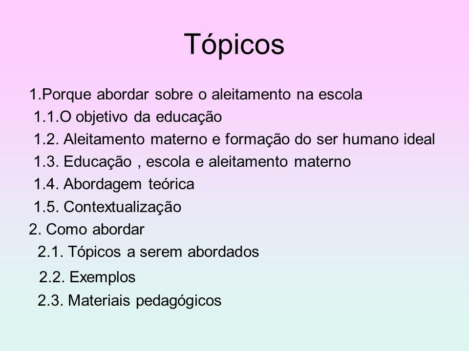 Tópicos 1.Porque abordar sobre o aleitamento na escola 1.1.O objetivo da educação 1.2. Aleitamento materno e formação do ser humano ideal 1.3. Educaçã
