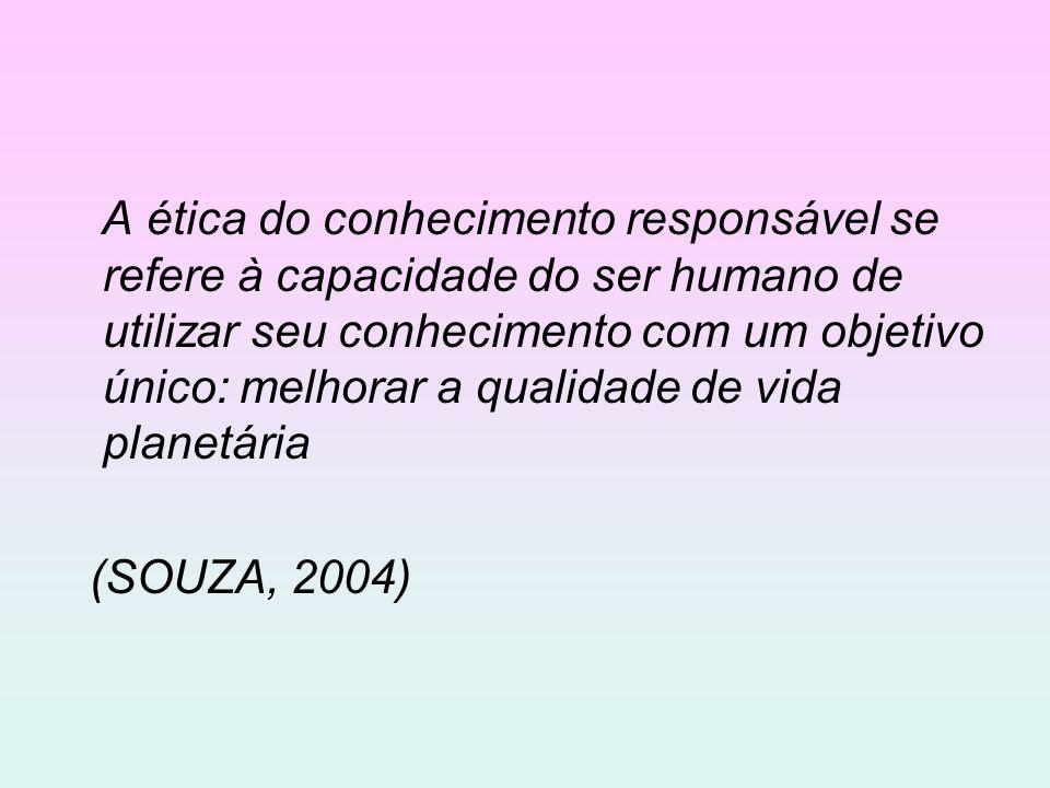 A ética do conhecimento responsável se refere à capacidade do ser humano de utilizar seu conhecimento com um objetivo único: melhorar a qualidade de v