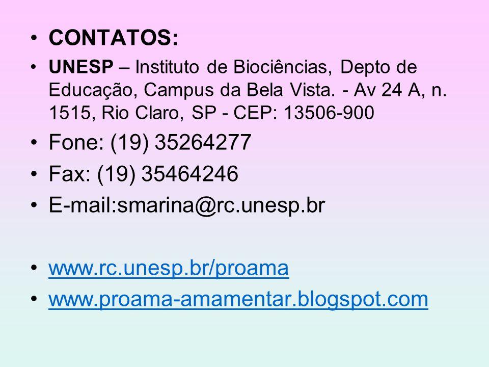 CONTATOS: UNESP – Instituto de Biociências, Depto de Educação, Campus da Bela Vista. - Av 24 A, n. 1515, Rio Claro, SP - CEP: 13506-900 Fone: (19) 352