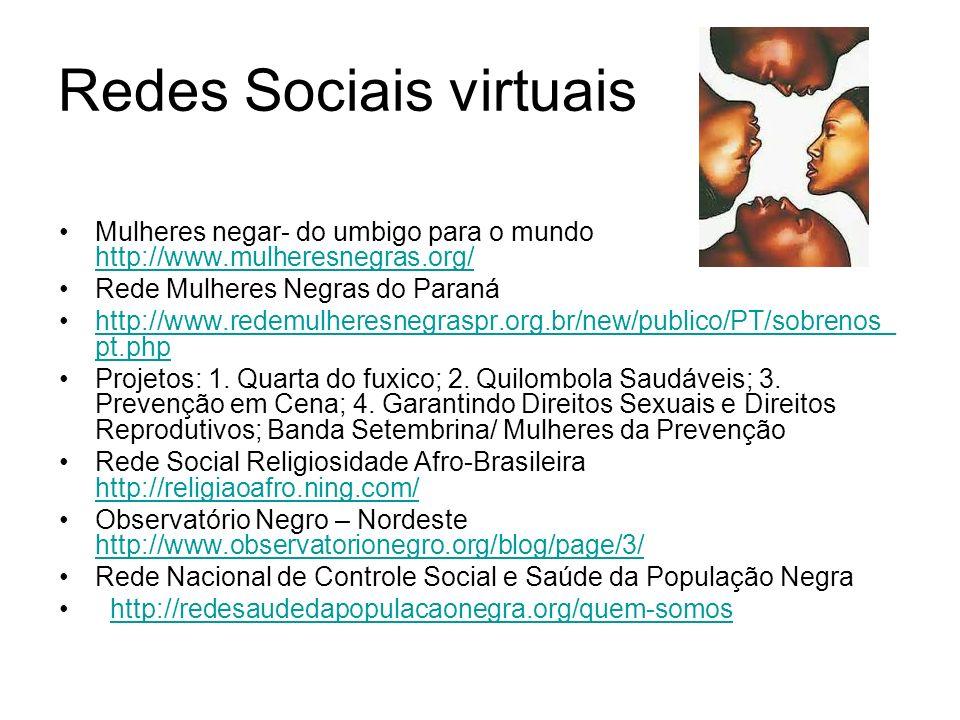 Redes Sociais virtuais Mulheres negar- do umbigo para o mundo http://www.mulheresnegras.org/ http://www.mulheresnegras.org/ Rede Mulheres Negras do Paraná http://www.redemulheresnegraspr.org.br/new/publico/PT/sobrenos_ pt.phphttp://www.redemulheresnegraspr.org.br/new/publico/PT/sobrenos_ pt.php Projetos: 1.