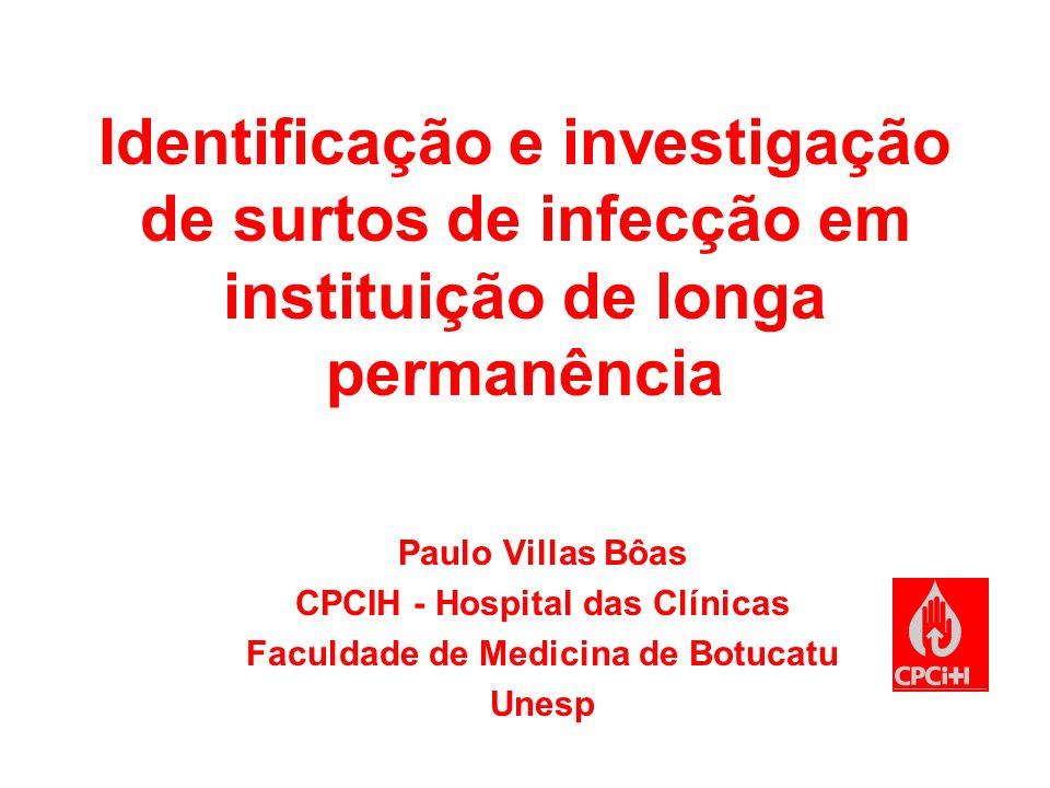 Identificação e investigação de surtos de infecção em instituição de longa permanência Paulo Villas Bôas CPCIH - Hospital das Clínicas Faculdade de Me