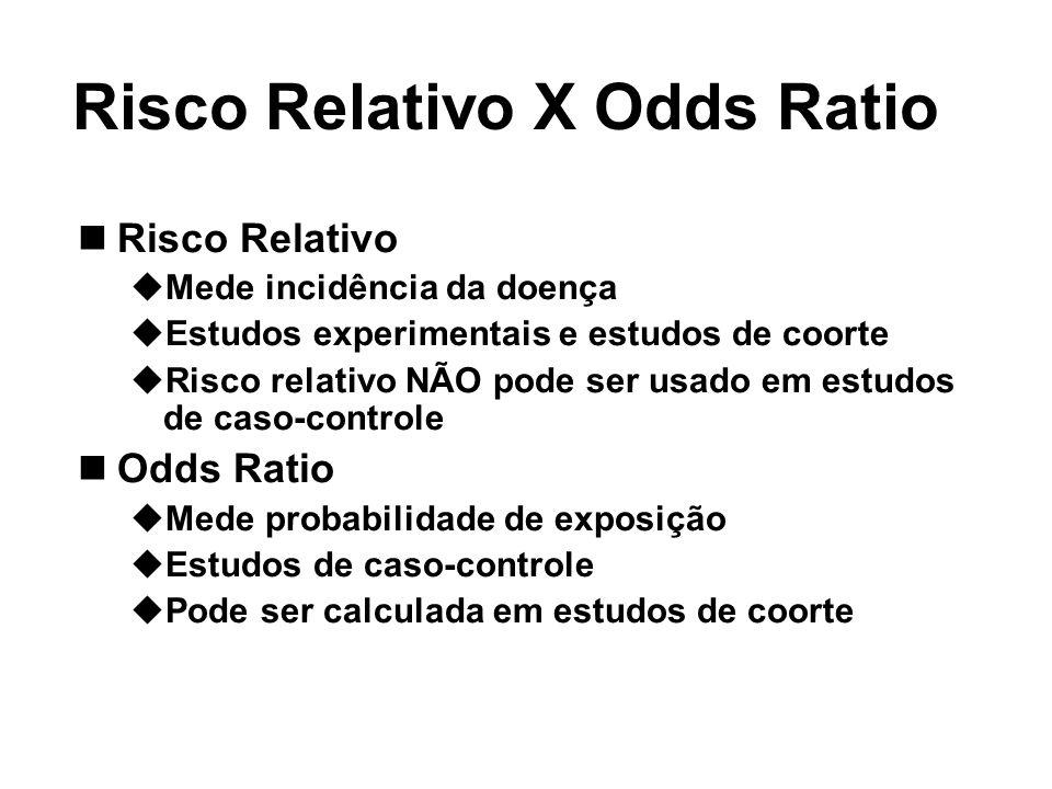 Risco Relativo X Odds Ratio Risco Relativo Mede incidência da doença Estudos experimentais e estudos de coorte Risco relativo NÃO pode ser usado em es