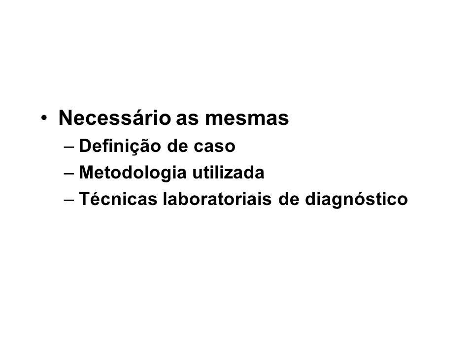 Necessário as mesmas –Definição de caso –Metodologia utilizada –Técnicas laboratoriais de diagnóstico