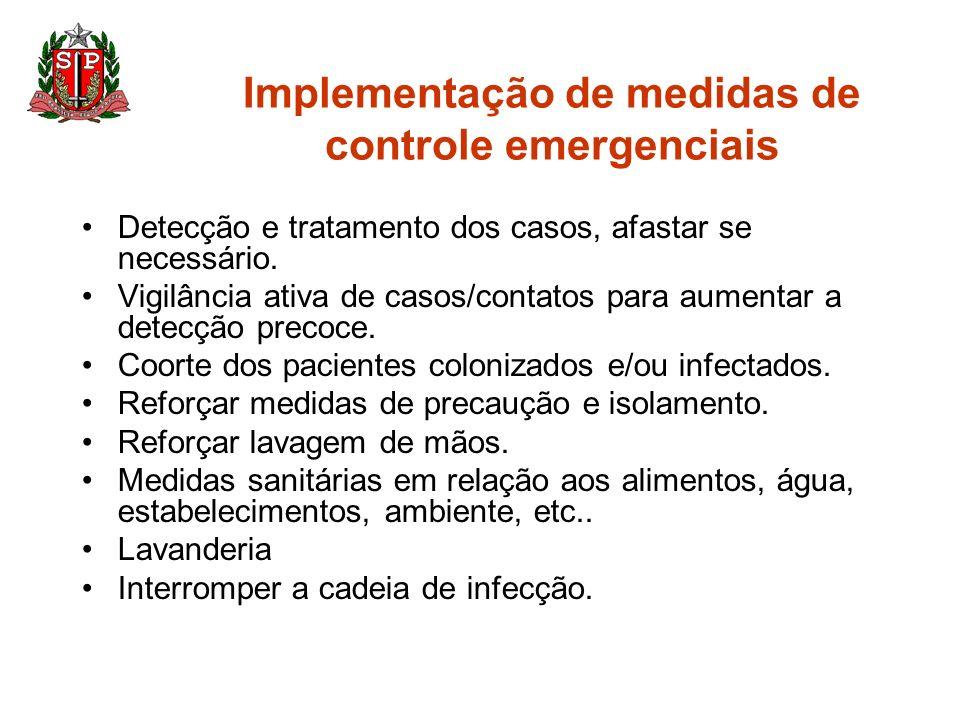 Implementação de medidas de controle emergenciais Detecção e tratamento dos casos, afastar se necessário. Vigilância ativa de casos/contatos para aume