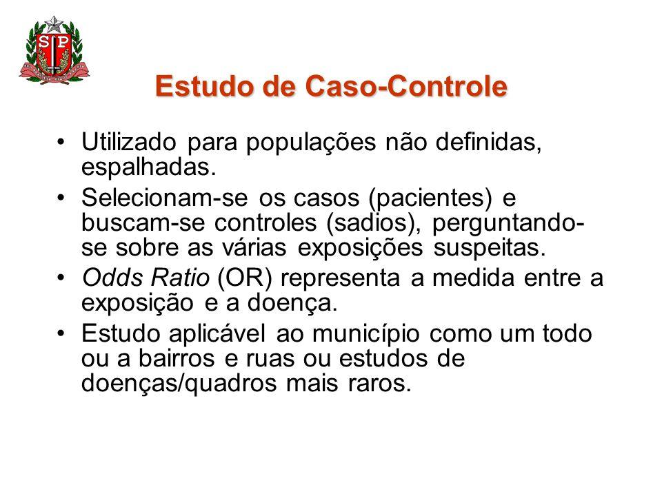 Estudo de Caso-Controle Utilizado para populações não definidas, espalhadas. Selecionam-se os casos (pacientes) e buscam-se controles (sadios), pergun