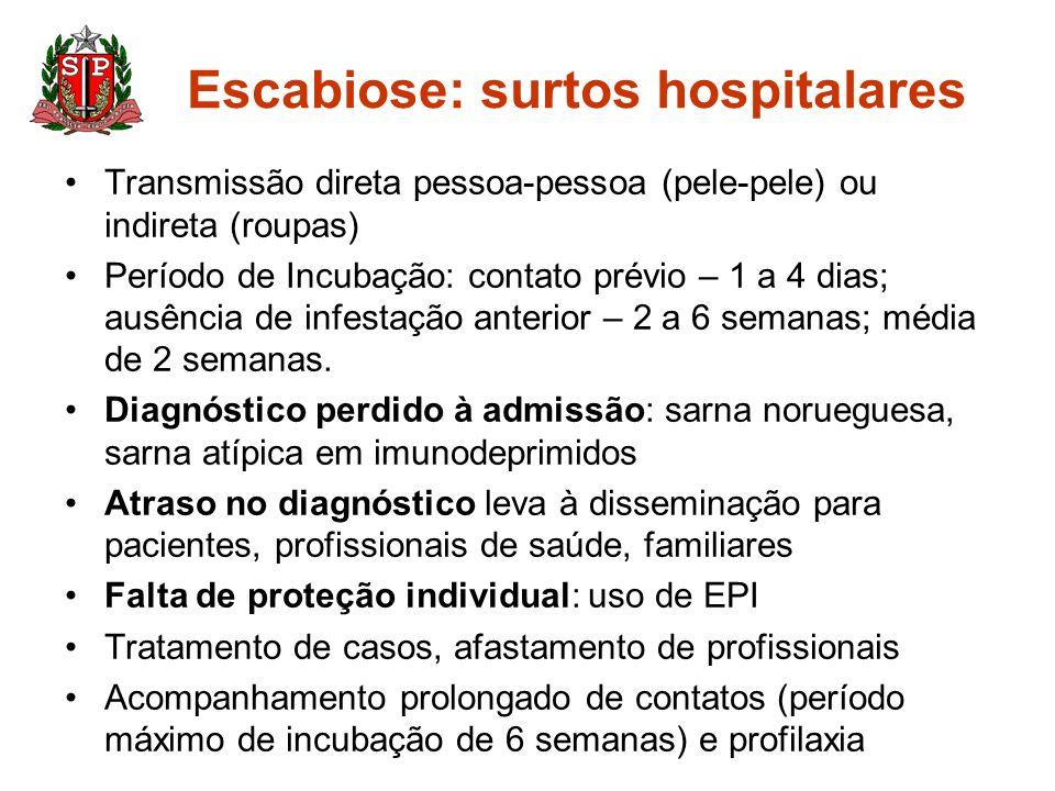 Escabiose: surtos hospitalares Transmissão direta pessoa-pessoa (pele-pele) ou indireta (roupas) Período de Incubação: contato prévio – 1 a 4 dias; au
