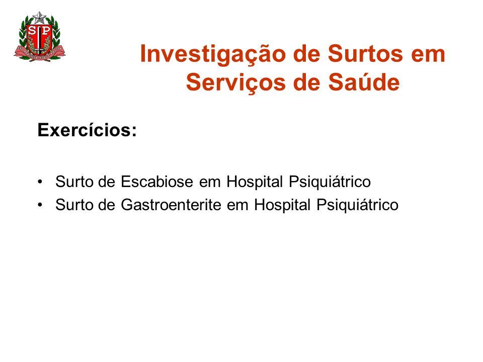 Investigação de Surtos em Serviços de Saúde Exercícios: Surto de Escabiose em Hospital Psiquiátrico Surto de Gastroenterite em Hospital Psiquiátrico