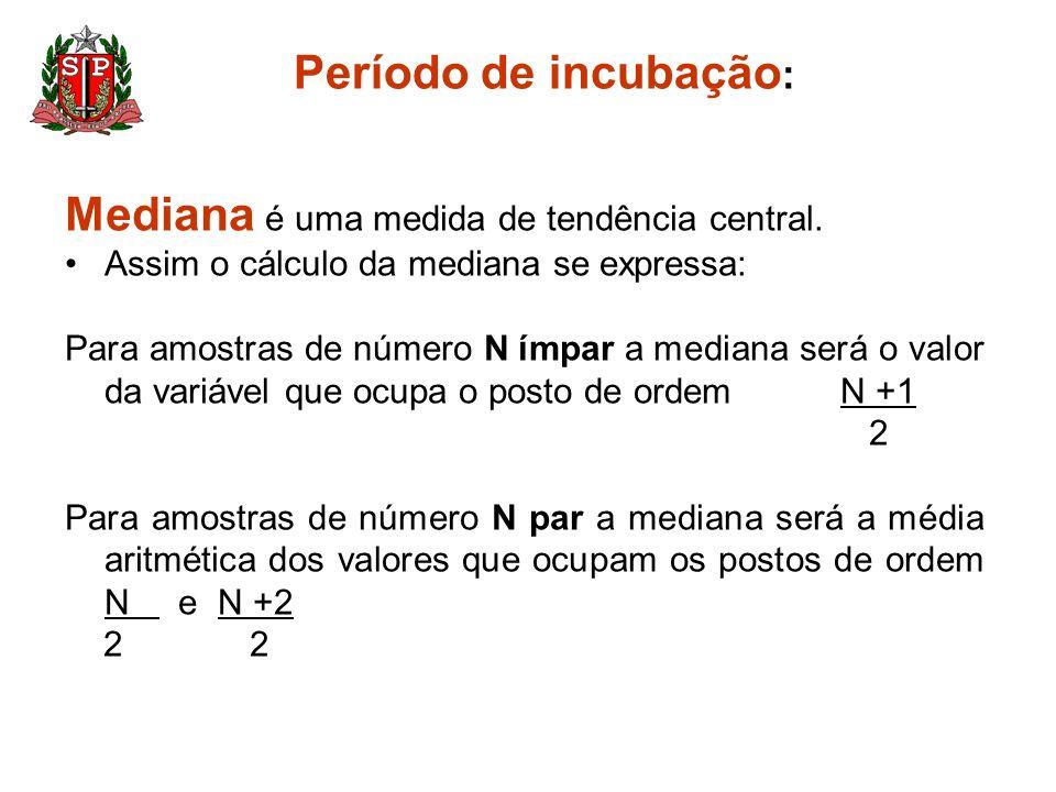 Período de incubação : Mediana é uma medida de tendência central. Assim o cálculo da mediana se expressa: Para amostras de número N ímpar a mediana se
