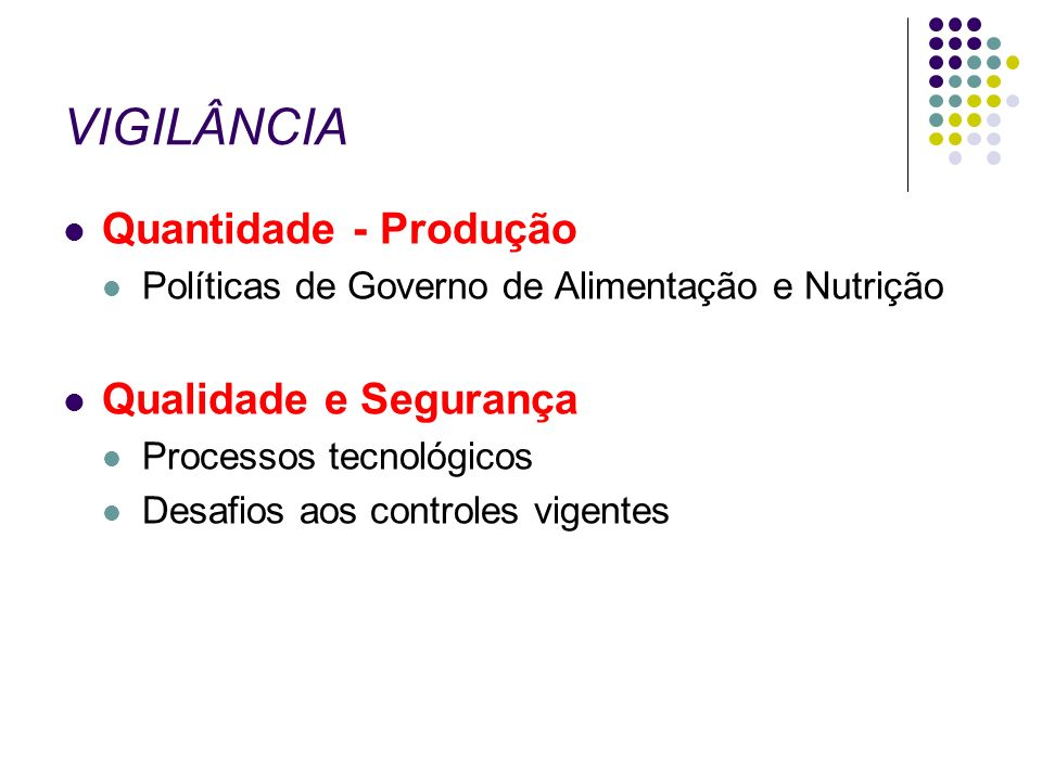 VIGILÂNCIA Quantidade - Produção Políticas de Governo de Alimentação e Nutrição Qualidade e Segurança Processos tecnológicos Desafios aos controles vi