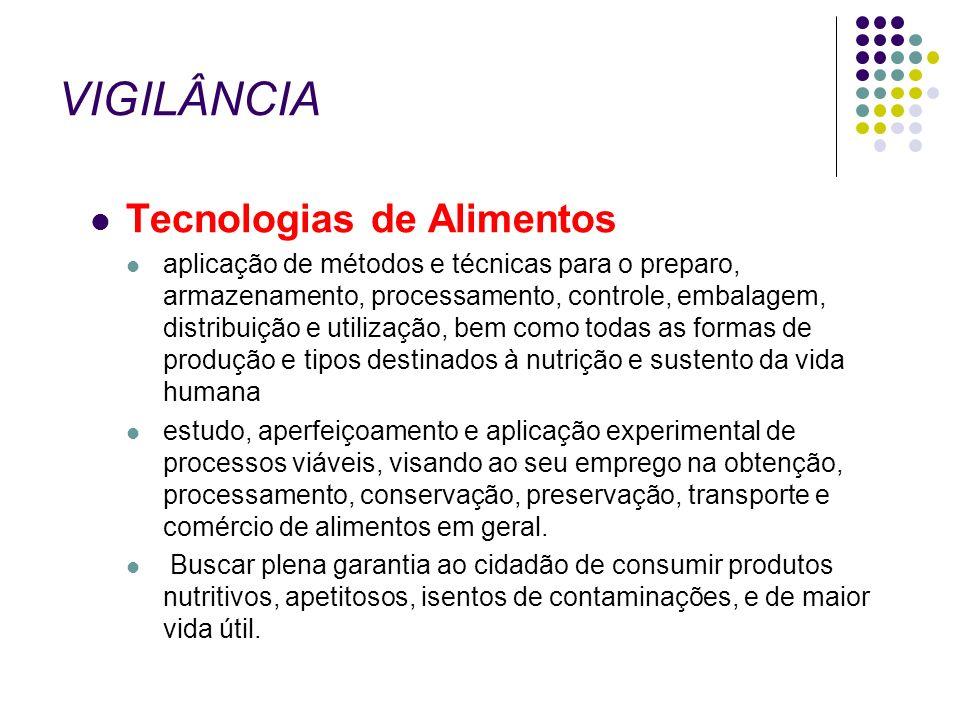 VIGILÂNCIA Tecnologias de Alimentos aplicação de métodos e técnicas para o preparo, armazenamento, processamento, controle, embalagem, distribuição e
