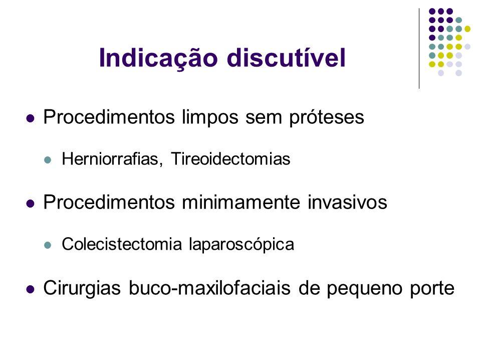 Indicação discutível Procedimentos limpos sem próteses Herniorrafias, Tireoidectomias Procedimentos minimamente invasivos Colecistectomia laparoscópic