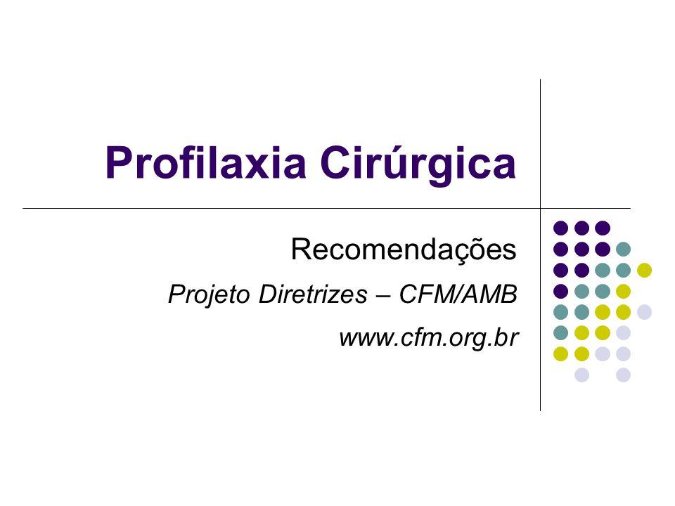 Profilaxia Cirúrgica Recomendações Projeto Diretrizes – CFM/AMB www.cfm.org.br