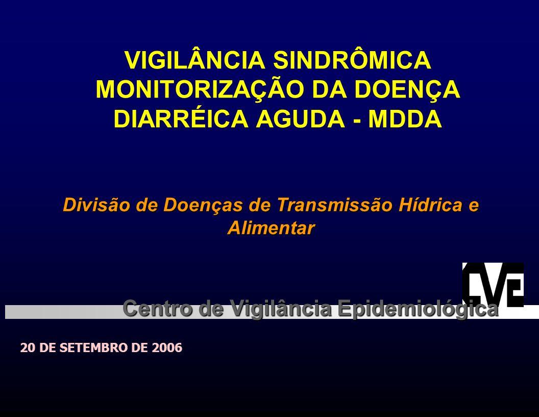 VIGILÂNCIA SINDRÔMICA MONITORIZAÇÃO DA DOENÇA DIARRÉICA AGUDA - MDDA 20 DE SETEMBRO DE 2006 Divisão de Doenças de Transmissão Hídrica e Alimentar Cent